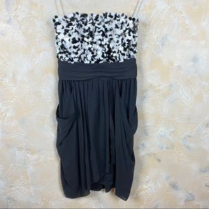 Alice and Olivia Black and White Sequin Dress